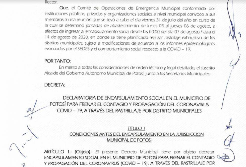 Vea el Decreto Municipal sobre el encapsulamiento en Potosí