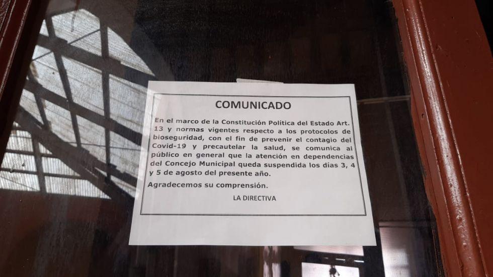 Concejo Municipal vuelve a suspender actividades