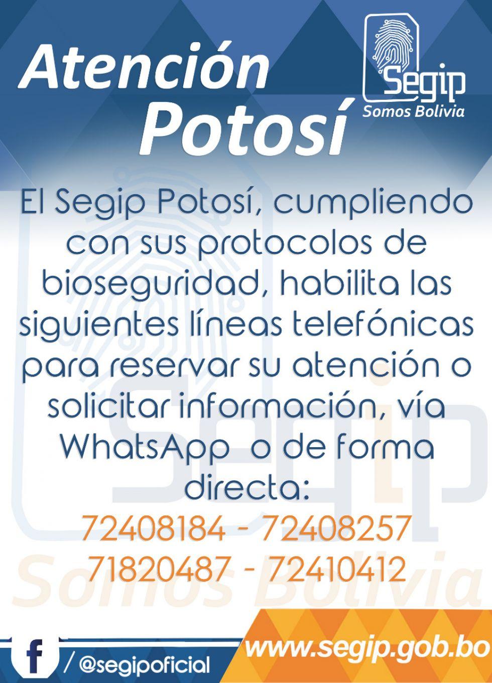 Horarios y modalidad de atención del Segip Potosí