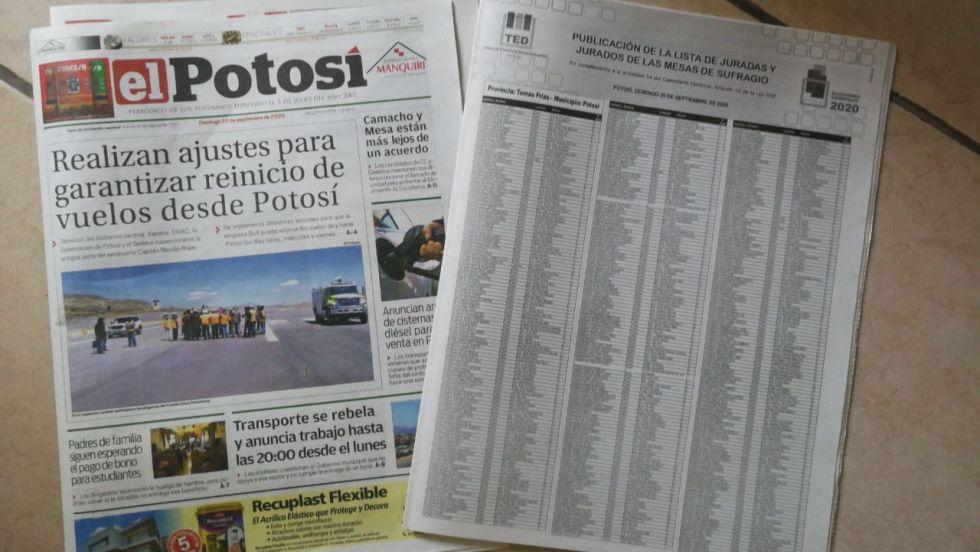 Lista de jurados electorales circula hoy con El Potosí