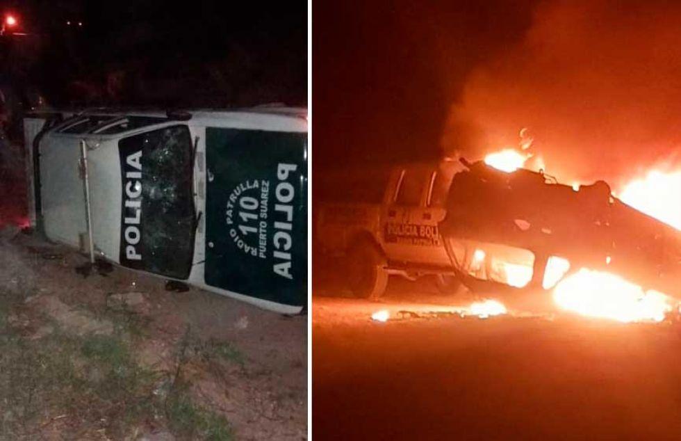 Santa Cruz: Pobladores queman unidad policial en Puerto Suárez