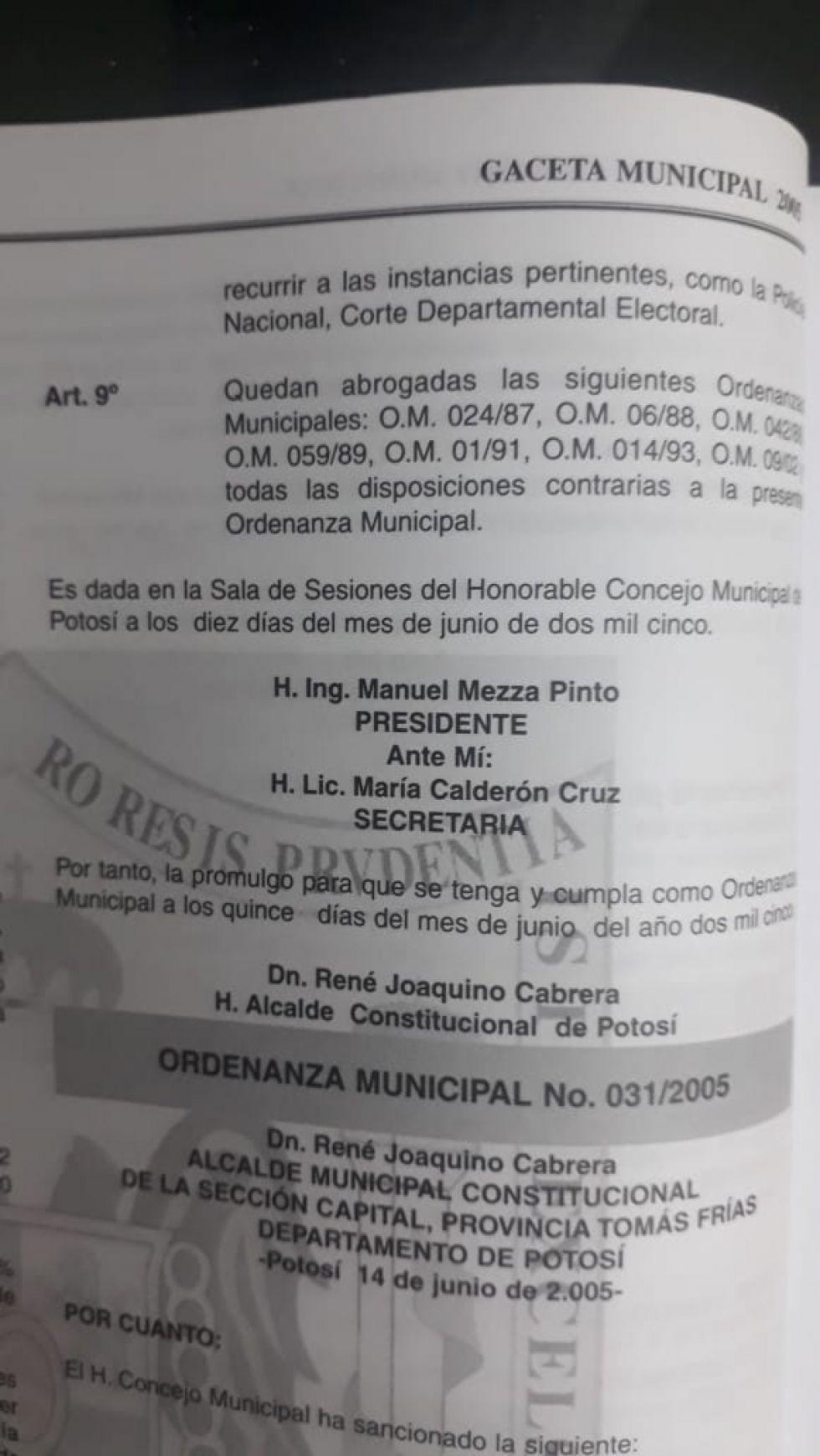 La Ordenanza  Municipal.