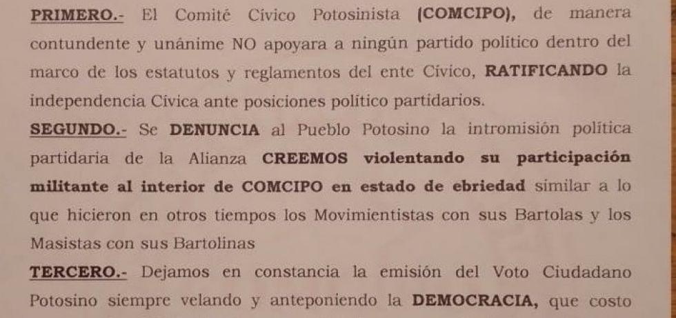 El detalle del documento de Comcipo.