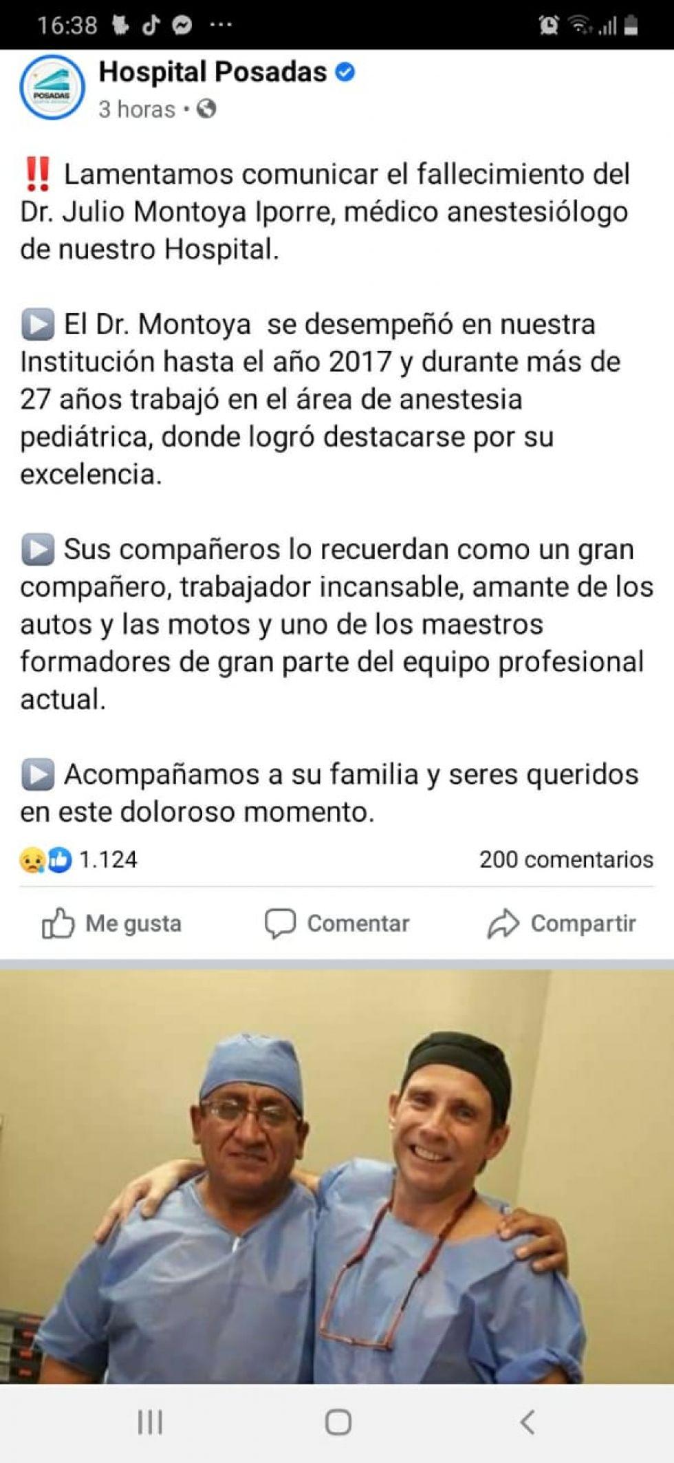 El comunicado del hospital.