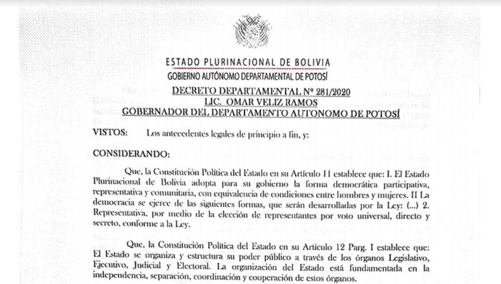 Lea el decreto departamental sobre el auto de buen gobierno para las elecciones generales