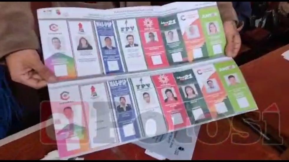 Encuentran papeleta marcada a favor del MAS y CC en Potosí