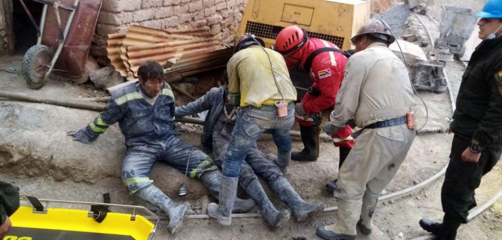 Dos mineros esquivan la muerte en interior mina