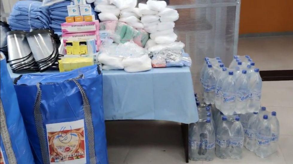 "Voluntarios de ""Potosí respira"" entregaron apoyo al centro Covid Pary Orcko"