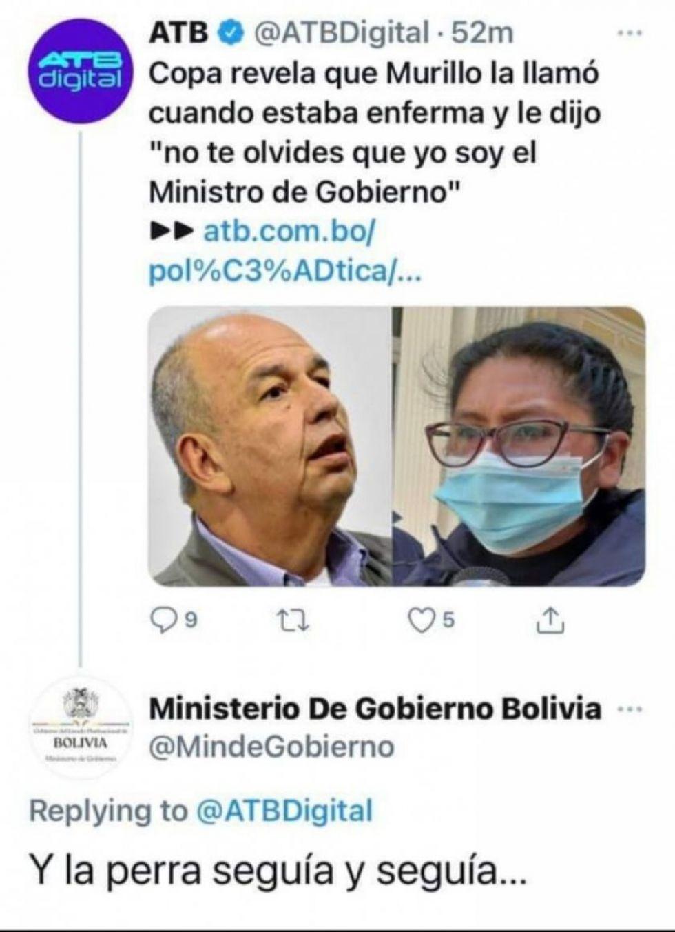 Vergonzosa respuesta de cuenta de Twitter del Ministerio de Gobierno a noticia sobre Copa