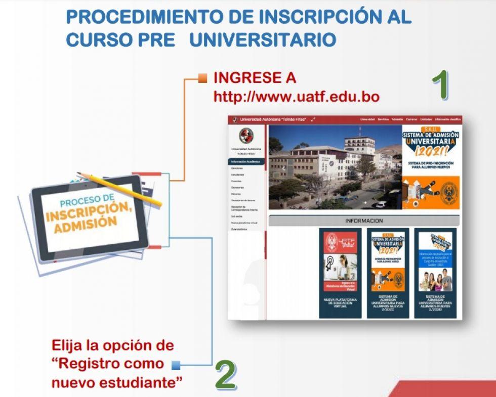 Bachilleres ya pueden registrarse en el preuniversitario de la UATF