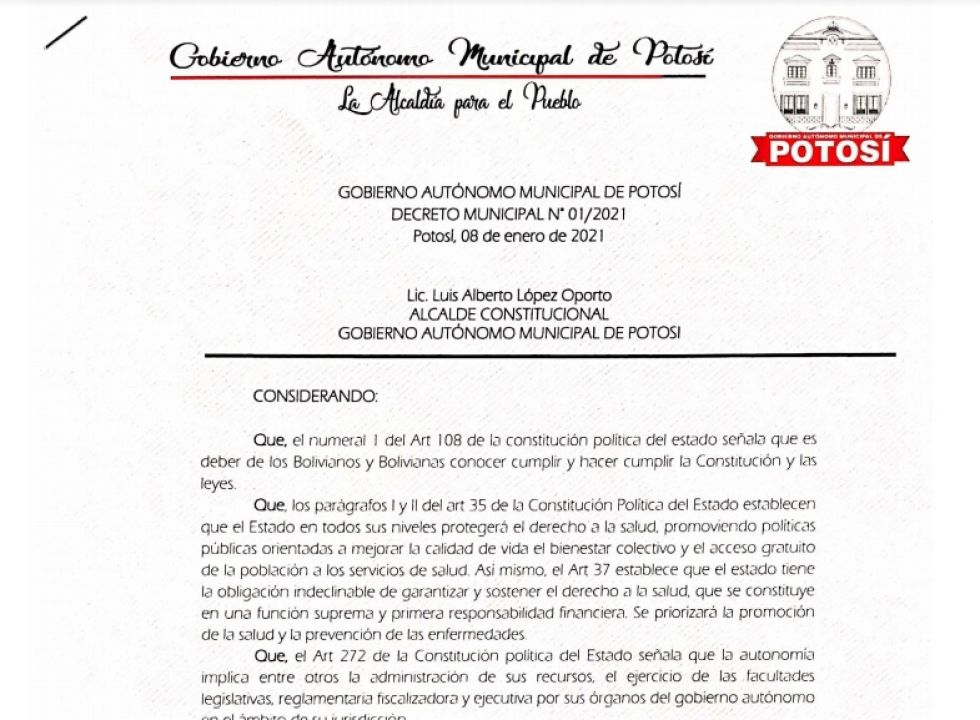 Este es el Decreto Municipal vigente con las restricciones que busca frenar el rebrote en Potosí