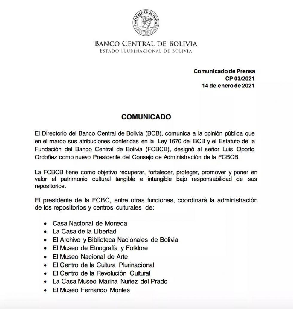 El comunicado de la FcBcb.