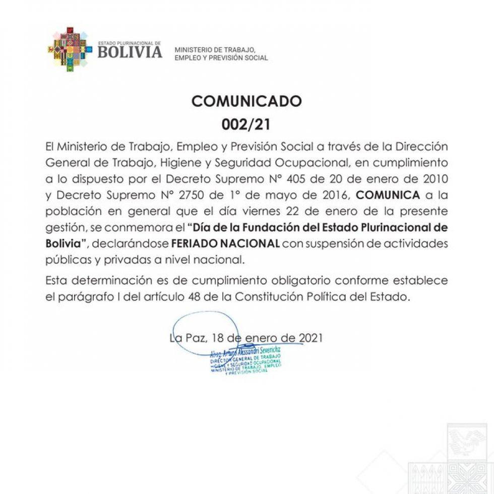 Ministerio de Trabajo ratifica feriado nacional el 22 de enero