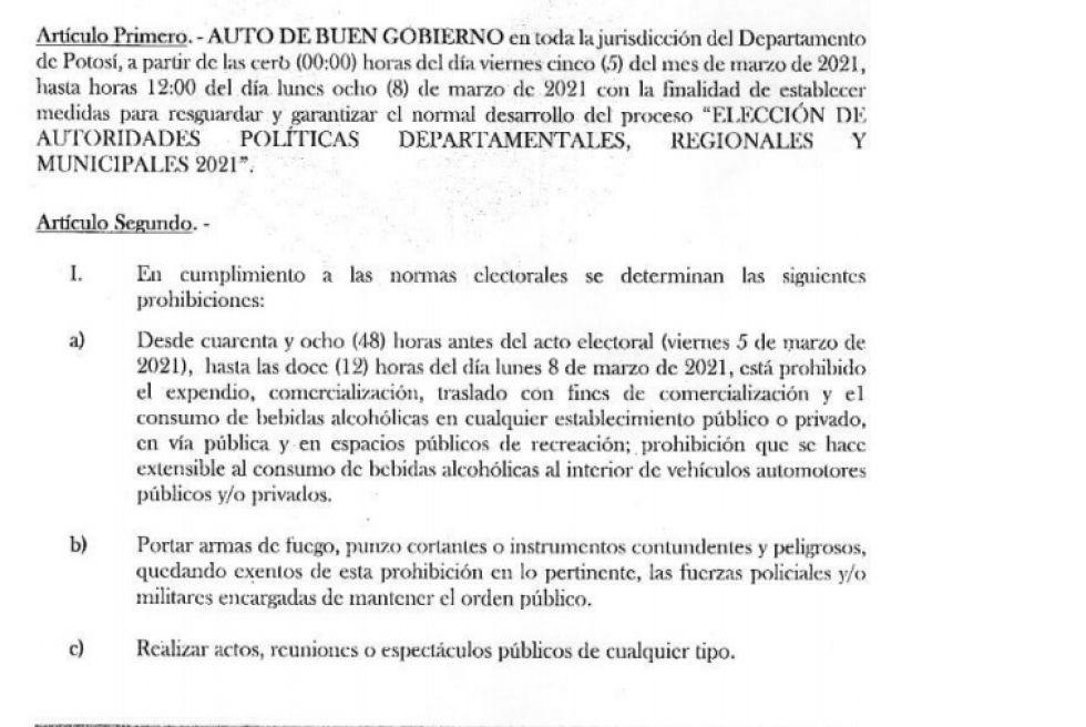 Este es el Auto de Buen Gobierno vigente para las elecciones en Potosí