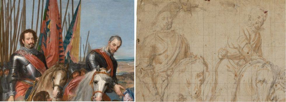 Detalle y esbozo del cuadro La rendición de Juliers.