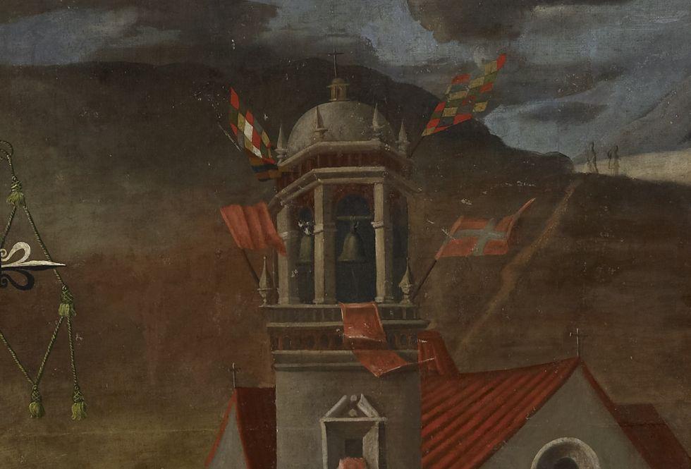 Detalle del cuadro de Holguín en el que se ve dos wiphalas en el templo de San Martín.