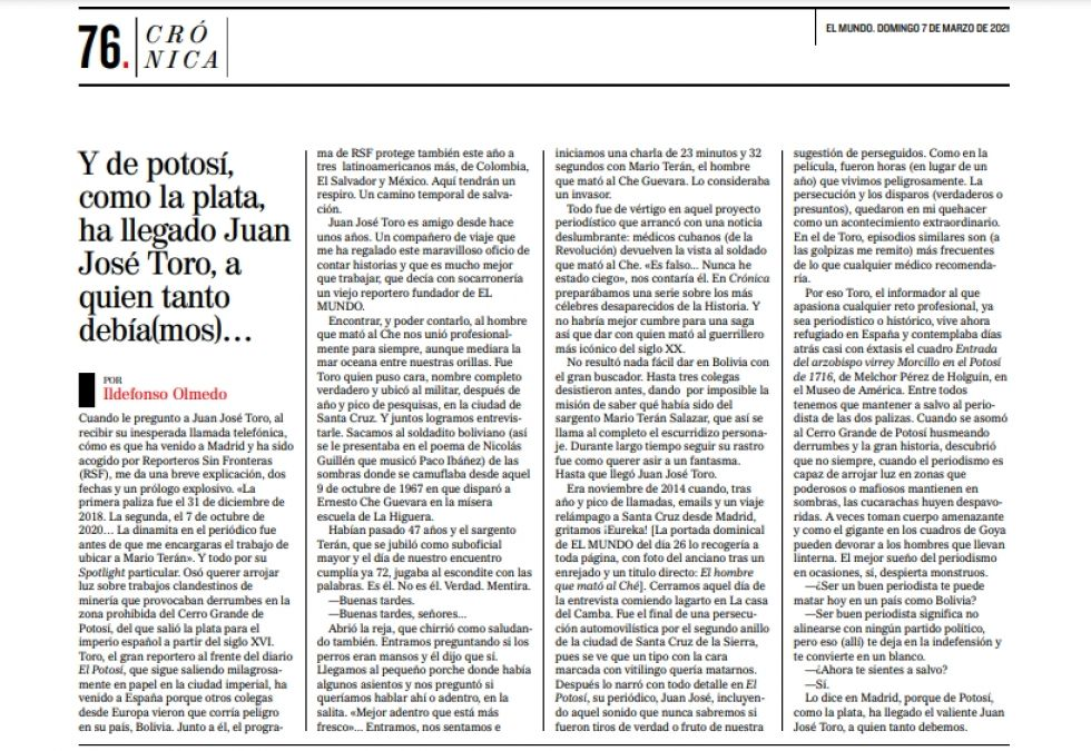 La nota de Ildefonso Olmedo se publicó junto al reportaje de Toro.