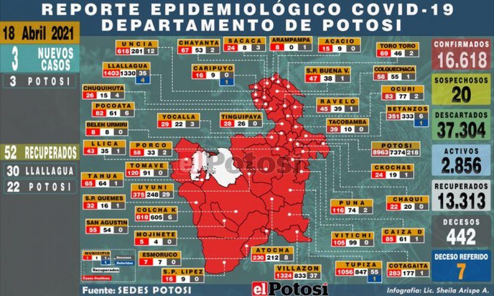 Mapa del #coronavirus en #Potosí el 18 de abril de 2021 Elaboración: Lic. Sheila Arispe