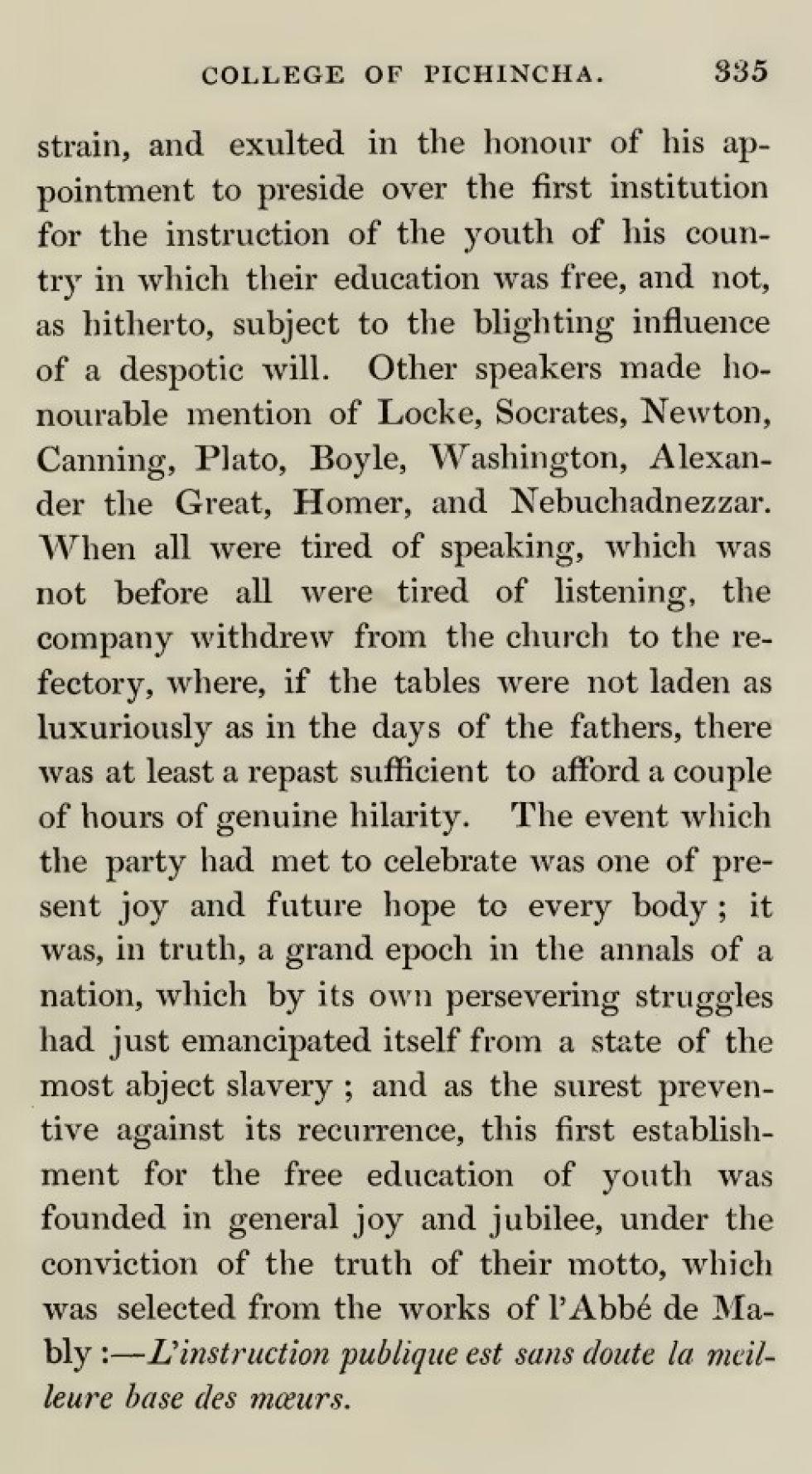 El relato de Temple sobre la inauguración del Pichincha.