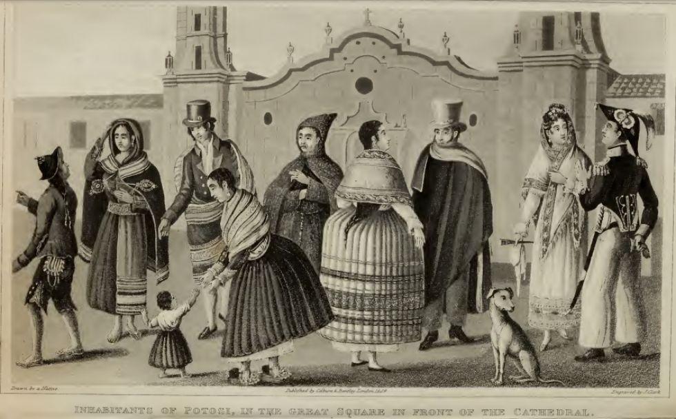Habitantes de Potosí: famoso grabado del libro de Temple.