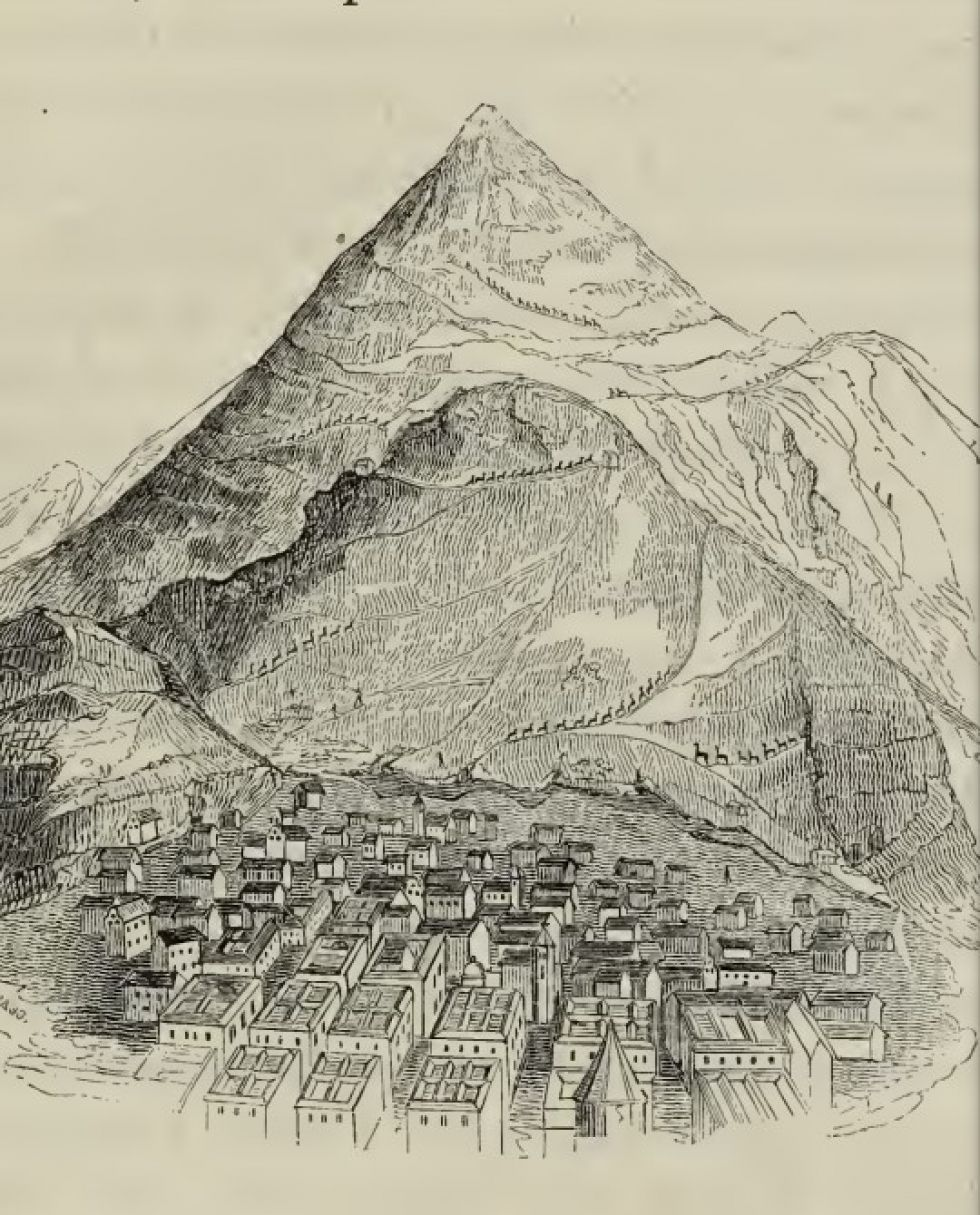 Grabado del Cerro Rico en el libro de Temple.