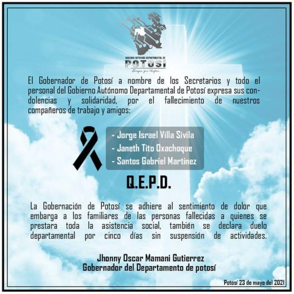 La condolencia emitida por la Gobernación.