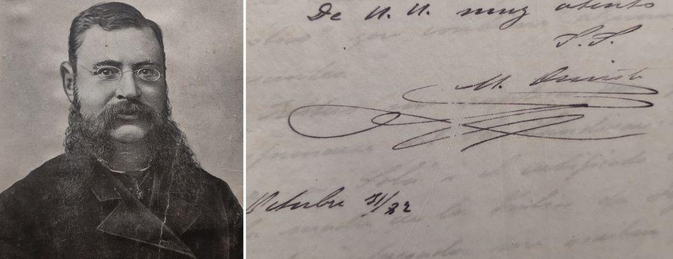 Retrato y firma de Modesto Omiste.