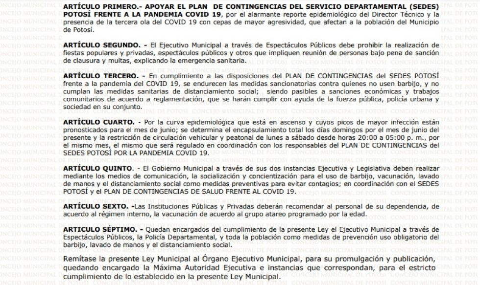 Concejo Municipal aprueba ley que refuerza la emergencia contra el coronavirus