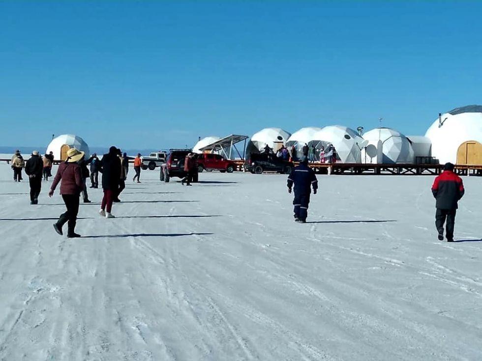 Así se encuentra el sector de los domos en el Salar de Uyuni