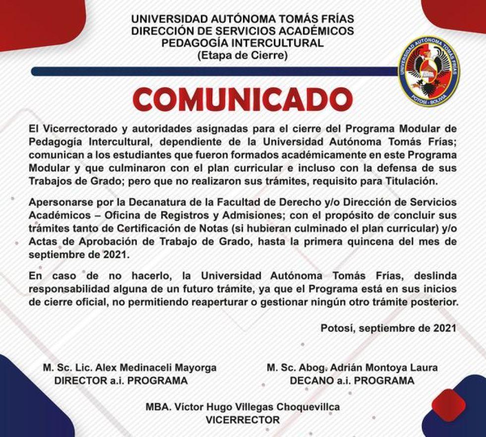 La UATF finaliza trámites para el cierre de Pedagogía Intercultural