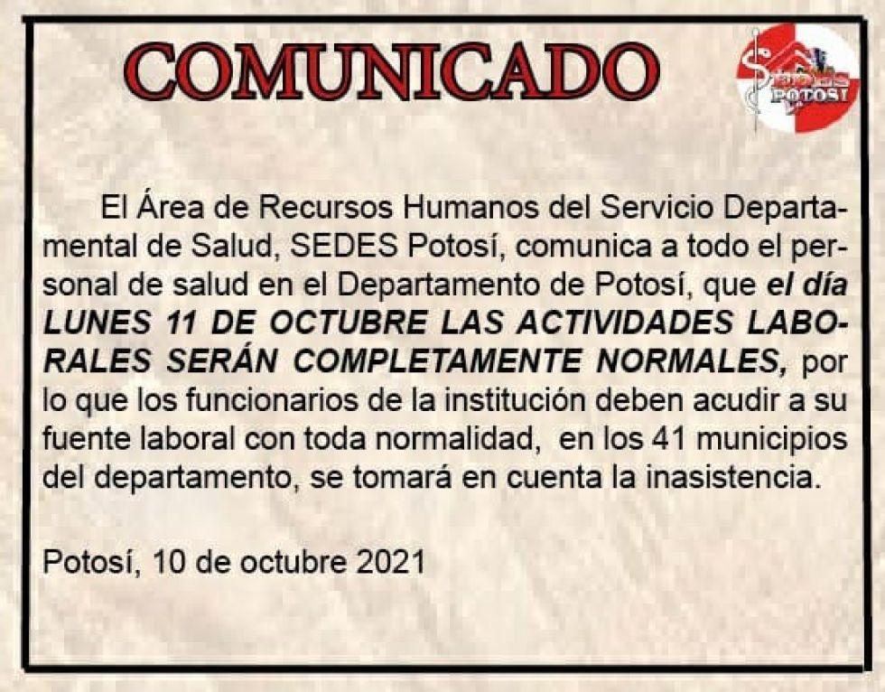 La Gobernación emitió comunicados señalando que la actividad laboral es normal.